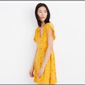 Madewell silk yellow floral dress